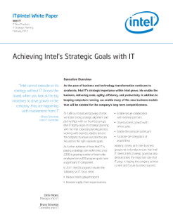 Achieving Intel's Strategic Goals with IT