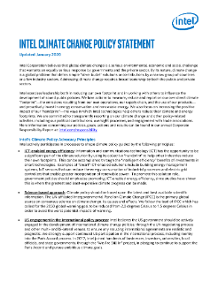 Intel Climate Change Policy Statement