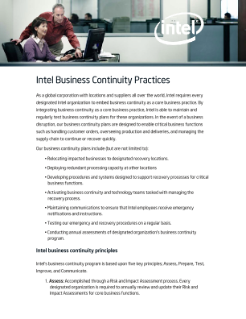 Intel Business Continuity Practices