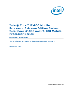 Intel® Core™ i7-900/i7-800/i7-700 Mobile Processor: Datasheet, Vol. 1