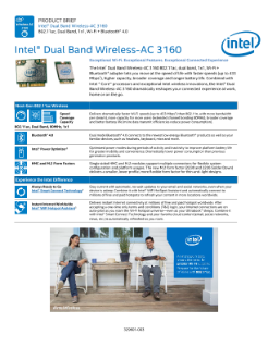 Intel® Dual Band Wireless-AC 3160: Product Brief