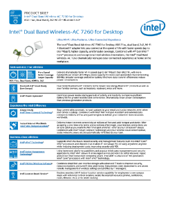 Intel® Dual Band Wireless-AC 7260 for Desktop: Product Brief