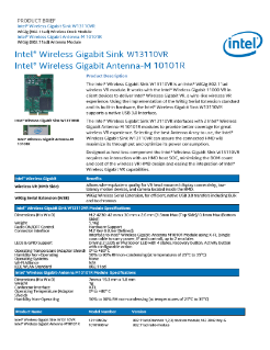 Intel® Wireless Gigabit Sink W13110VR Product Brief