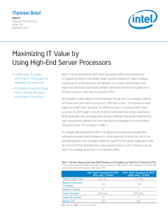 High-End Server Processors Deliver Maximum IT Value