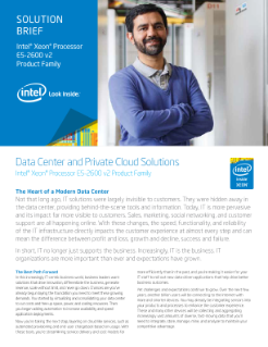Private Cloud Solutions with the Intel® Xeon® Processor E5 Family