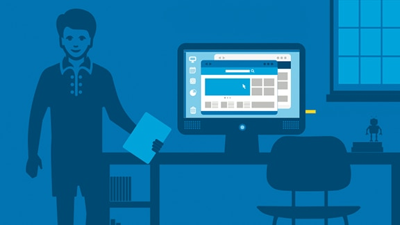 Ilustración: hombre en una oficina junto a mesa y monitor con Intel Compute Stick