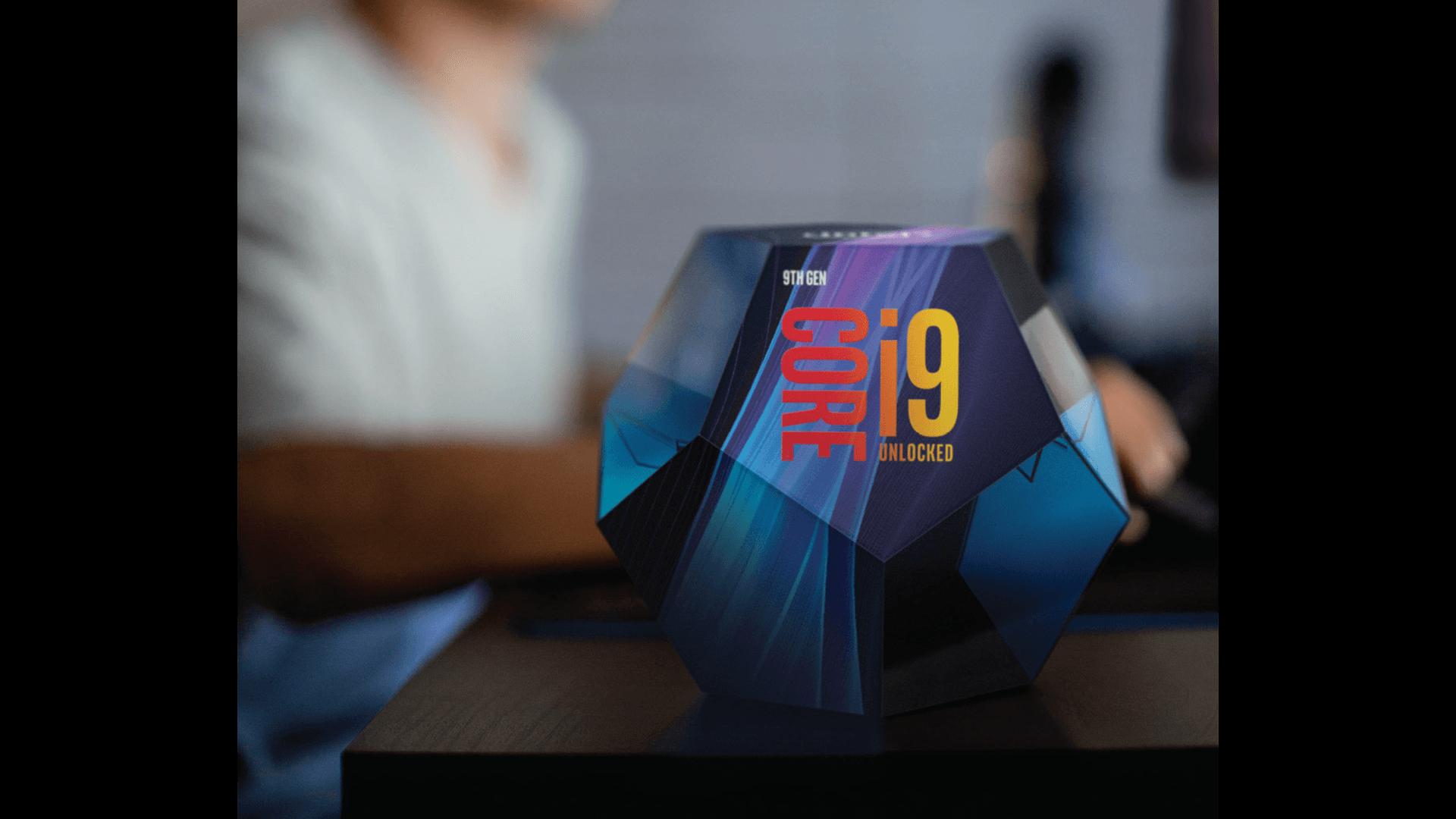 Cubo i9 core de novena generación con imagen de fondo